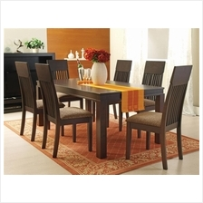 HORMBEAN 6 Cushion Chair + 1 Square Table Solid Wood Dining Set