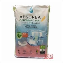 Absorba Nateen Soft Adult Diapers L Size 10pc (with Wetness Indicator)