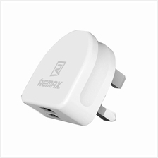REMAX RMt7188 Dual USB Port High Speed 2.1A White UK Charger Adapter
