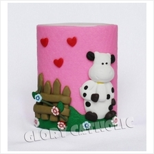 Polymer clay lovely cow pen and pencil holder