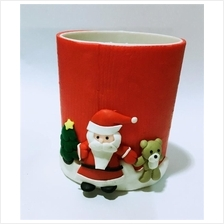 Polymer clay lovely Santa Claus pen and pencil holder