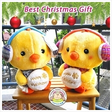 Yellow Chick Plush Toy with Winter Ear Muffs and Snow - Christmas Gift