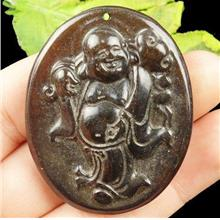 *CLEARANCE* 'Chinese Old Jade' Carved Stone Buddha Pendant 49x39x6mm