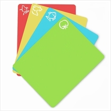 4PCS/Set Thick Flexible Plastic Cutting Board Mats With Food Icons