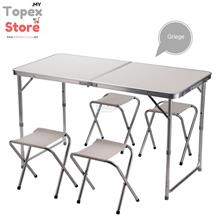 [FREE 4CHAIRS] Portable Foldable Aluminium Table Camping Outdoor Table