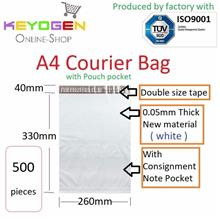 500pcs A4 size Courier plastic Flyer pouch Mailer Bag Packing -white