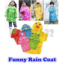 Children Cartoon Kid Cute  Animal Funny Raincoat Rain Coat Raining )