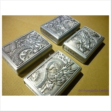 1 Set 4 pieces Jiantai Dragon 3D Embossed Genuine Kerosene Lighter-Sil