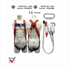 Picasaf Full Body Harness with Double Lanyard, Large Hook