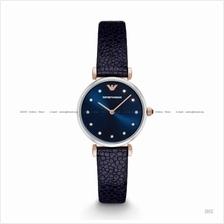 EMPORIO ARMANI AR1989 Women's Retro Watch 2-hand Glitz Leather Blue