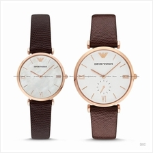 EMPORIO ARMANI AR9042 Pair Lover Watch Leather Brown Gift Box Set