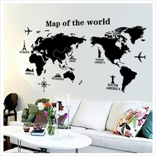 World map sticker price harga in malaysia wall sticker map of the world aeroplane statue of liberty blackwhite gumiabroncs Gallery