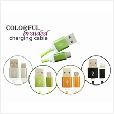 Colorful Braided 1.5M Micro USB/Iphone Charging/Data cable