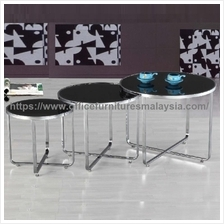 Round Glass Coffee Table Set YGST-1021 putrajaya Cyberjaya bangi