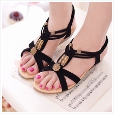 Women Beaded Straps Pattern Designs Beach Wear Flat Peep Toes Sandals