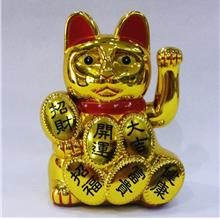 GOLDEN BECKONING FORTUNE LUCKY CAT 18CM