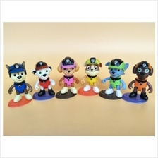 6 in 1 PAW Patrol Q version Cake Topper /Figure set