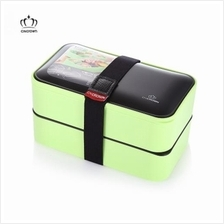 CNCROWN 20116 PLASTIC DOUBLE LAYERS BENTO LUNCH BOX (GREEN)