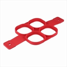 SILICONE NON-STICK EGG RINGS MAKER PANCAKE MOLD (RED)