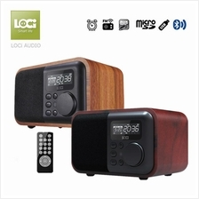 D90 Bluetooth Wooden Subwoofer Stereo Speaker Radio Alarm Clock