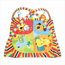 BABY SOFT PLAY MAT CARTOON ANIMAL GYM FITNESS BLANKET WITH FRAME RATTL