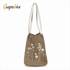 Canvas Handbag Flower Print Bucket Bag COFFEE