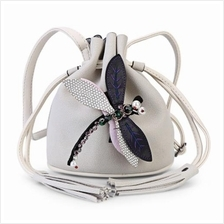 Dragonfly Embellished Drawstring Bucket Bag WHITE