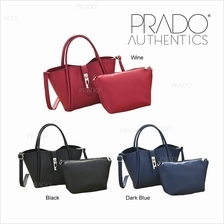PRADO Authentic 2pcs Korean 1329 Handbag Leather Fashion Bag Beg Bags