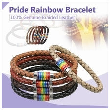 100% Genuine Braided Leather Magnetic LGBT Gay Pride Rainbow Bracelet