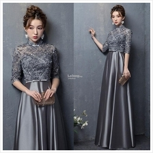 Grey Flowery and Satin Prom Dress