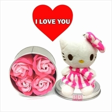 Mother's Day Gift Rose Flower in Round Tin + Hello Kitty
