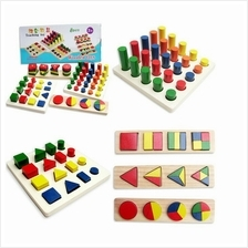 Montessori Baby Educational Wooden Assembling Toy Toys Shape Color Rec