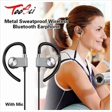 Metal Sweatproof Earphones Wireless Bluetooth Headset Earphone Mic