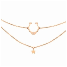 ASTRID&MIYU HORSESHOE CHOKER IN ROSE GOLD)