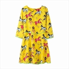High Quality fashion O-Neck Mini Chiffon Horse Print Women Dress