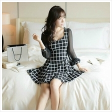 KOREA FASHION LONG SLEEVE DRESS BLACK