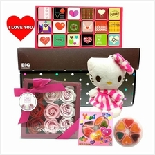 Mother's Day Gift Hello Kitty + Box Roses + Card
