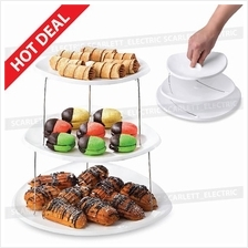 Twist Fold Party Plate Tray 3 Tier Container Decorative Plastic Stand