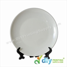 3D Ceramic Plate (Full White) (10) with Stand & Box