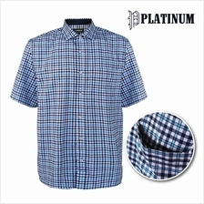 PLATINUM BIG SIZE Checked Shirt Microfiber PM8237 (Turquoise)