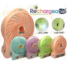 Mini Portable 3 Speed Rechargeable Strong Wind Fand With Led Light