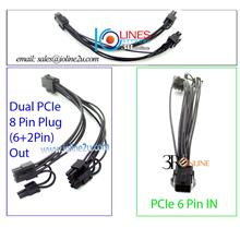 20cm 6 Pin to Dual 8 Pin/2+6P power converter cable Graphic Card GPU PCIe Mini