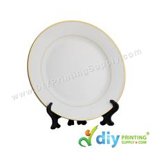 Ceramic Plate (Gold Lining) (8) with Stand & Box