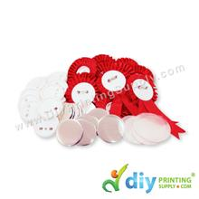 Button Badge Ribbon Medal with Mylar (Red) (44mm) (50 ? pcs/pkt)