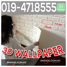 3D Brick Wallpaper Waterproof Wall Sticker Home Wall Korea Ready Stock