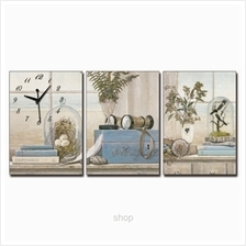 hOurHome 3pcs Rectangle Modern Art Paintings  & Clock Set - A3965-1-2-3)
