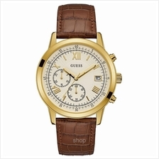 Guess W1000G3 Men Summit Chronograph Brown Leather Strap Watch