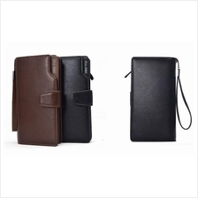 Korean Design Men Women Long Leather Wallet Clip Brown Black