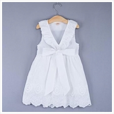 SWEET V-NECK SLEEVELESS BOWKNOT EMBROIDERED COTTON DRESS FOR GIRLS (WH