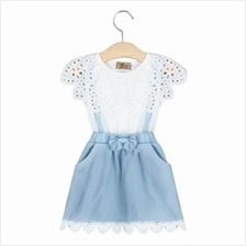 SWEET GIRLS LACE DENIM DRESS WITH POCKETS (WHITE)